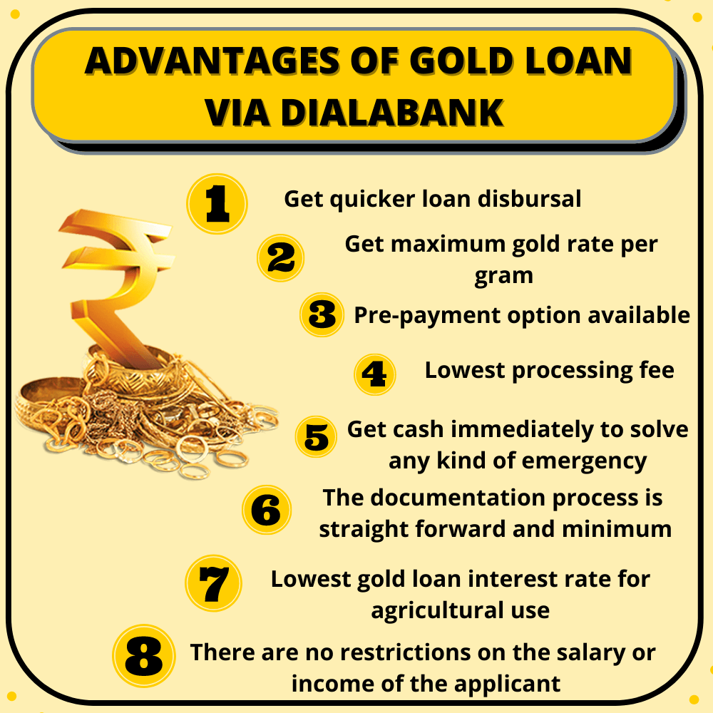 Advantages of SBI Gold Loan Via Dialabank