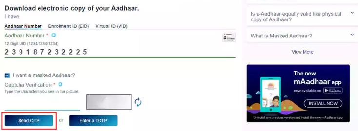 E-Aadhar Card Download
